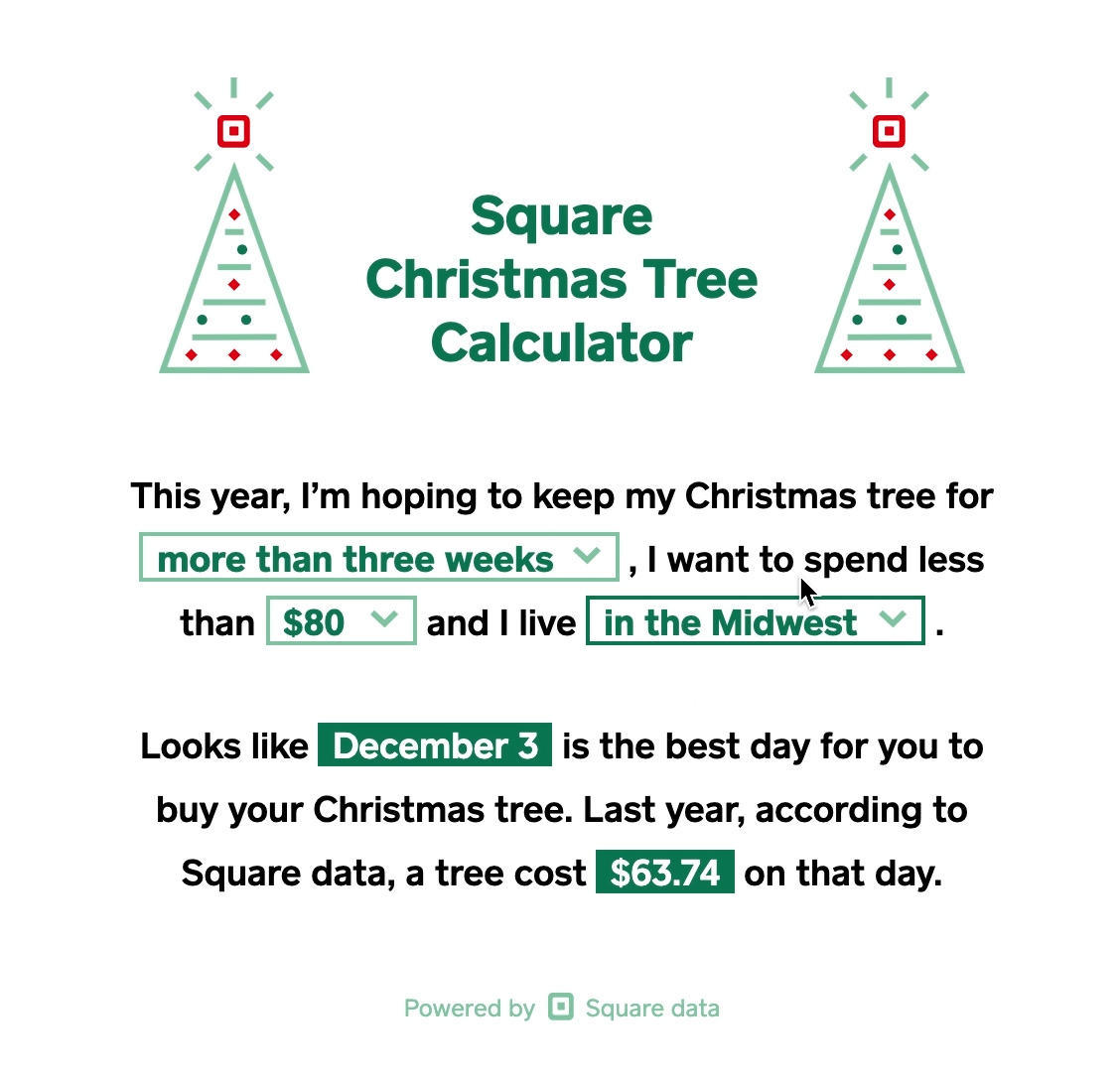Predict the best day to buy your tree this season, using Square's Christmas Tree Calculator.
