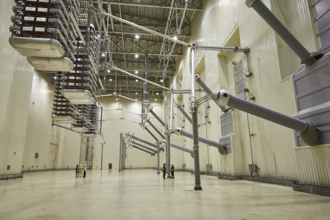 Inside the Valve Hall of the Champa-Kurukshetra HVDC Converter Station, image courtesy of GE (Photo: Business Wire)