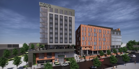 Exterior rendering of Motto by Hilton Atlanta Old Fourth Ward, part of Waldo's, a mixed-use development project. For more renderings of the property, please visit newsroom.hilton.com/motto. (Photo: Business Wire)