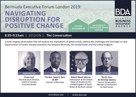 Bermuda Executive Forum London 2019 opening panel. (Photo: Business Wire)