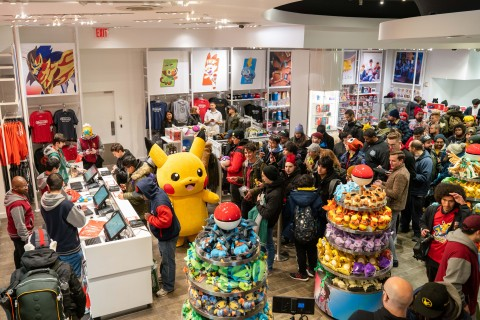 In this photo provided by Nintendo of America, Pikachu celebrates with the first few fans to make an in-store purchase of the Pokémon Sword and Pokémon Shield games at the Nintendo NY store on Nov. 15, 2019. (Photo: Business Wire)