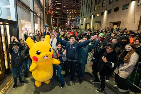 In this photo provided by Nintendo of America, Pikachu greets fans as they enter the Nintendo NY store at the midnight launch celebration of the Pokémon Sword and Pokémon Shield games. The games launched exclusively for the Nintendo Switch system on Nov. 15, 2019. (Photo: Business Wire)