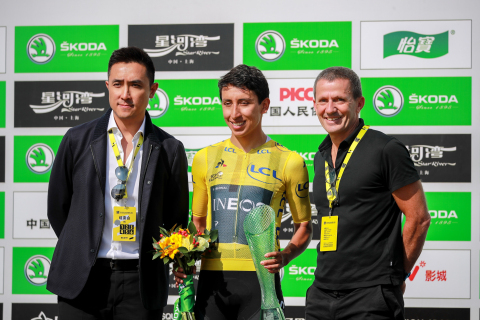 Mr. Steve Lau (first on the left), Co-chairman and Chief Executive Officer of Activation Group, and Yann Le Moenner, Chief Executive Officer of Amaury Sport Organization (A.S.O.), with Egan Bernal (middle), Tour de France 2019 champion. (Photo: Business Wire)