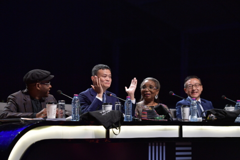 Africa Netpreneur Prize Initiative Finale Judges (from left to right) - Strive Masiyiwa, Jack Ma, Ibukun Awosika, and Joe Tsai (Photo: Business Wire)
