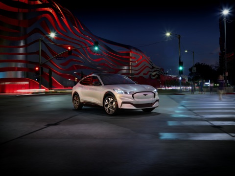 For the first time in 55 years, Ford is expanding the Mustang line-up with the all-electric Mustang Mach-E SUV joining the sports coupe, convertible and special editions, featuring an all-new infotainment system and connected vehicle technology. (Photo: Business Wire)