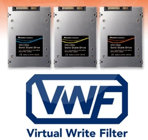 3D NAND搭載電源断耐性強化SSD: フラッシュストレージ内のファイルを保護し、電源断によるファイルシステムの不整合を抑制する機能「Virtual Write Filter機能(VWF機能)」に対応した産業機器向けフラッシュストレージです。(画像:ハギワラソリューションズ株式会社)