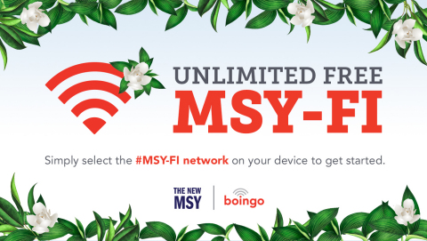 Boingo's high-density Wi-Fi at the new MSY offers passengers a free connectivity experience, with speeds up to 100 Mbps. (Graphic: Business Wire)