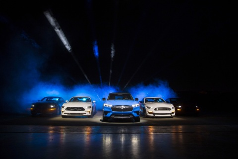 Ford Motor Company introduces the Mustang Mach-E GT SUV at Jet Center Los Angeles in Hawthorne, California on Sunday, Nov. 17, 2019. The GT Performance Edition brings the thrills Mustang is famous for, targeting 0-60 mph in the mid-3-second range and an estimated 342 kW (459 horsepower) and 830 Nm (612 lb.-ft.) of torque. (Photo: Business Wire)