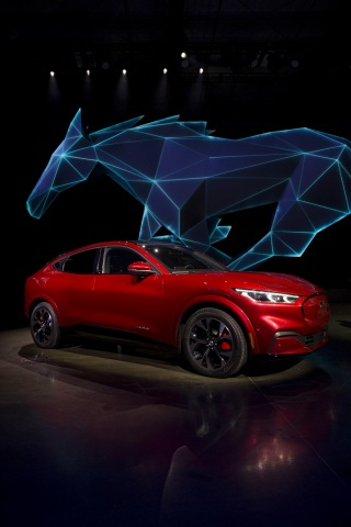 Ford Motor Company introduces the Mustang Mach-E SUV at Jet Center Los Angeles in Hawthorne, California on Sunday, Nov. 17, 2019. Launching in late 2020, Mustang Mach-E will be available in several variations, including an extended-range battery and rear-wheel drive option that has a targeted EPA-estimated range of at least 300 miles. (Photo: Business Wire)