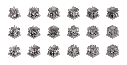 An array of metal 3D-printed passive heat sink examples for an electronics application that were designed with nTop Platform 2.0. The software created a Design of Experiments (DOE) that generatively designed a series of Triply Periodic Minimal Surfaces (TPMS) with optimal surface-area-to weight ratios. nTop Platform simplifies the generation and analysis of complex structures like these for a wide range of high performance thermal and structural applications and delivers the sliced data that guides the laser in the layer-by-layer 3D-printing process. (Photo: Business Wire)
