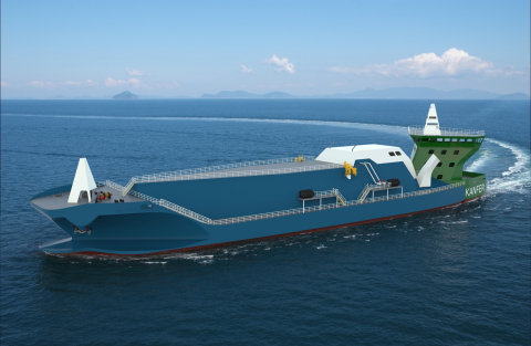 AG&P makes a strategic investment in Norway-based Kanfer Shipping to make LNG more accessible and commercially viable for downstream customers. Kanfer has captured the attention of the global LNG maritime infrastructure industry with its revolutionary Detachable Stern Vessel (left), that makes it easier, faster, and more efficient to break-bulk and transport LNG. (Photo: Business Wire)