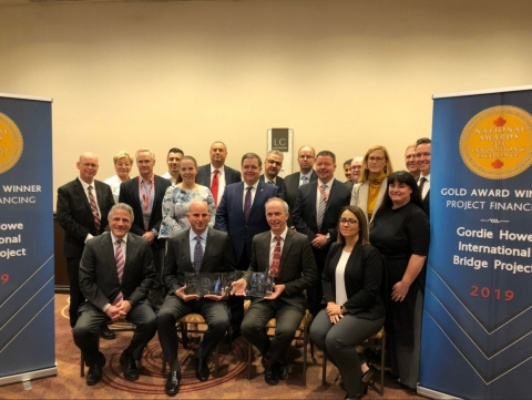 The Gordie Howe International Bridge Project team displays the Gold award from today's event in Toronto. (Photo: Business Wire)
