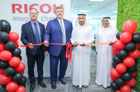 Dr. Mohammed Al Zarooni along with Mark Thompson cutting the ribbon (Photo: AETOSWire)