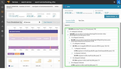 SolarWinds AppOptics Dev Edition combines distributed tracing, live code profiling, and exception tracking to quickly identify application performance issues down to the line of code. (Graphic: Business Wire)