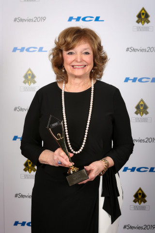 PacStar CEO Peggy Miller accepting Gold Stevie Award 2019 trophy in New York. (Photo: Business Wire)