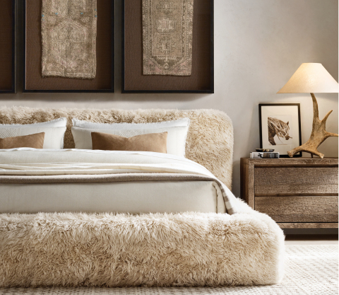 RH SKI HOUSE 2019 INTRODUCES THE YETI SHEEPSKIN COLLECTION BED BY TIMOTHY OULTON (Photo: Business Wire)