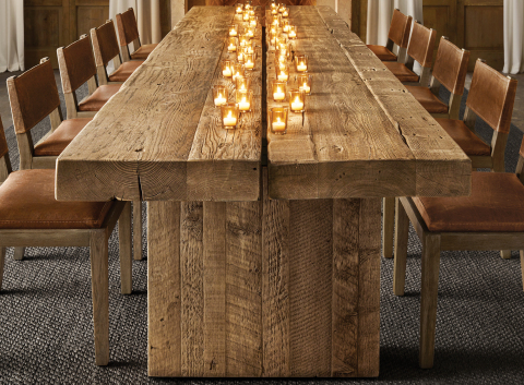 RH SKI HOUSE 2019 INTRODUCES THE RECLAIMED ENGLISH BEAM PLANK DINING TABLE (Photo: Business Wire)