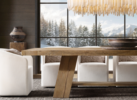 RH SKI HOUSE 2019 INTRODUCES THE DAVOS OAK COLLECTION DINING TABLE BY NICHOLAS AND HARRISON CONDOS (Photo: Business Wire)