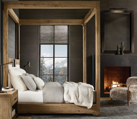 RH SKI HOUSE 2019 INTRODUCES THE DAVOS OAK COLLECTION CANOPY BED BY NICHOLAS AND HARRISON CONDOS (Photo: Business Wire)