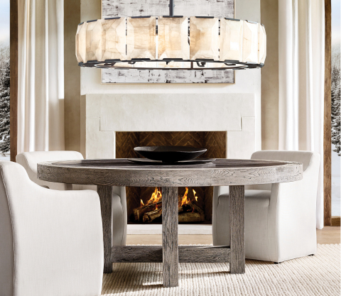 RH SKI HOUSE 2019 INTRODUCES THE HARLOW CALCITE LIGHTING COLLECTION BY TIMOTHY OULTON (Photo: Business Wire)