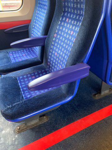 3D printed armrests on a Chiltern Railways train in the U.K. – produced by Angel Trains and DB ESG using Stratasys' EN45545-2-compliant materials (Photo: Business Wire).