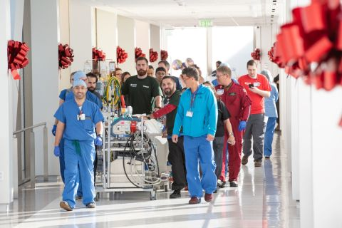 The Stanford Health Care transport team moved about 200 patients from the existing hospital into their new rooms via a Sky Bridge. A new patient was transferred every 3-4 minutes. Steve Fisch Photography.