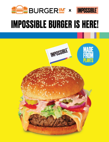 BurgerIM's plant-based Impossible Burger available nationwide beginning November 29, 2019 (Graphic: Business Wire)