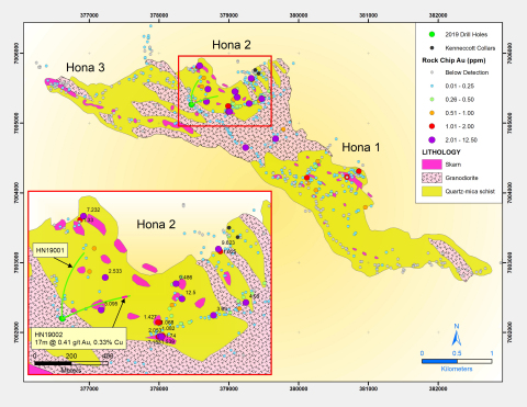 Figure 2: The Map illustrates the location of significant gold as measured in surface rock samples, along with the core hole samples. The prospective area at Hona is several times larger than the Peak Area. (Graphic: Business Wire)