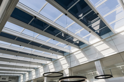 Each Halio® smart-tinting glass panel can be tinted individually or in groups. Photo courtesy of Halio International.