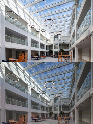 Avondzon's Halio® smart-tinting glass roof, clear and tinted. Photo courtesy of Halio International.