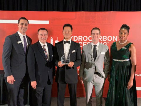 Fluor's Charles McManemin, Curt Graham, Jim Shih, Bryant Lynch and Sabrina Devone accept the Hydrocarbon Processing 2019 Best Gas Processing/LNG Technology award earlier this month in Houston. (Photo: Business Wire)