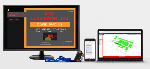 MadeSafe works across a suite of devices including the dedicated MadeSafe Station for alerts, testing, and reporting, wearable PLDs for faculty members, text message notifications to response personnel, and interactive, real-time 3D school map. (Graphic: Business Wire)