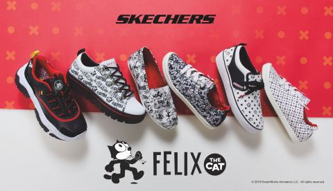 Skechers x Felix the Cat lifestyle footwear for women launches this month in celebration of the iconic feline's 100th anniversary. (Graphic: Business Wire)