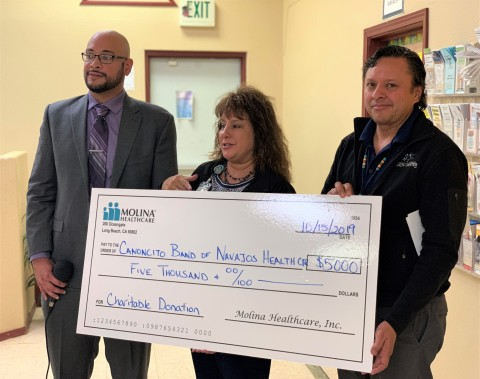 Molina Healthcare presented Canoncito Band of Navajos Health Center with a donation to support the organization's equine therapy program that works with youth in the community. (Photo: Business Wire)