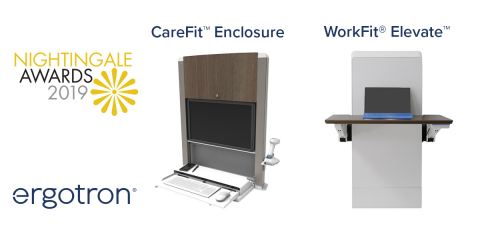 The Ergotron CareFit Enclosure and WorkFit Elevate each received a 2019 Nightingale Award for notable contributions to healing in healthcare settings. (Photo: Business Wire)