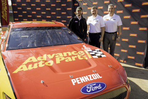 From left, Ryan Blaney, Team Penske driver, Jason McDonell, Advance Auto Parts CMO, and Tom Greco, Advance CEO, announce a multi-year partnership where Advance will be featured as the primary sponsor on the No. 12 Ford Mustang for four races in the 2020 NASCAR season. (Photo: Business Wire)