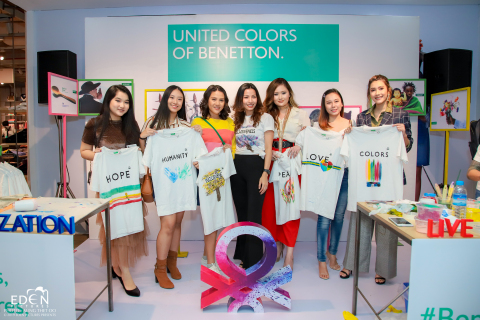 Paing Phyo Thu, Thazin Kyaw, Phyo Day by Day, San Htate Htar Oo at the launch of the AW2019 collection of UCB in Junction City at Yangon, Myanmar (Photo: Business Wire)