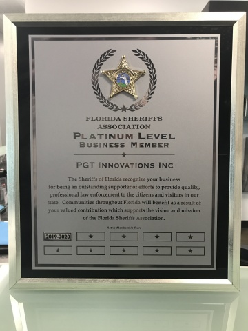 The platinum business member plaque from the Florida Sheriffs Association (Photo: Business Wire)