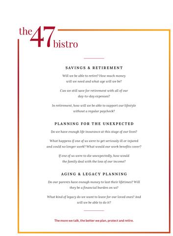 "Lincoln Financial Group's menu for ""Restaurant Talks""."