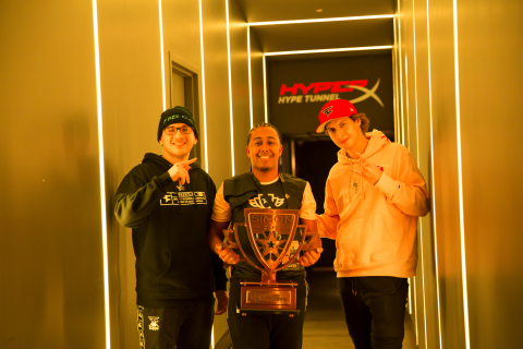 "Simon Cup winner Daryl ""Bugzvii"" John, 20, of Brooklyn, N.Y., celebrates at HyperX Esports Arena Las Vegas with FaZe Clan's GwidT and Cizzorz (L-R). (Photo: Christopher DeVargas/Allied Esports)"