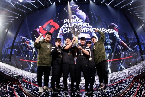 Gen.G Celebrates Victory at the PUBG Global Championship 2019 at the Oakland Arena (Photo: Business Wire)