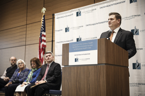 The United Health Foundation announced a three-year, $1.5 million grant to the Colorado Center for Nursing Excellence. Pictured left to right: North Range Behavioral Health Psychiatric Clinical Nurse Specialist Dan Frantz, Center Board Member and Psychiatric Clinical Nurse Specialist Ruby Martinez, Lt. Governor Dianne Primavera, Sen. Cory Gardner and UHC Government Programs CEO Brian Thompson (at podium). (Photo: Business Wire)