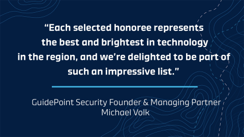 GuidePoint joined other prestigious entities who were recognized earlier this month for being one of the exclusive organizations included in the 2019 NVTC Tech 100 list. (Graphic: Business Wire)