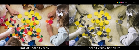 Color Blind View of Colorful School Activity - depiction courtesy of EnChroma