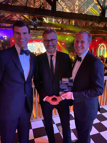 Matthew Seymour and Darren Best accept ALM Product of the Year at the Risk Markets Technology Awards 2020 (Photo: Business Wire)