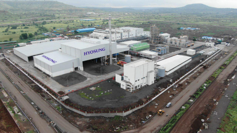 """Hyosung Chairman Cho Hyun-joon launches commercial operation of spandex plant in India. Located in the AURIC Industrial Complex near Aurangabad, Maharashtra State, the new plant has annual production capacity of 18,000 tons of spandex, and it occupies a site area of approximately 400,000 square meters. """"Adopting aggressive marketing strategy in the huge consumption market of India with a population of over 1.3 billion, we will promote symbiotic growth with the local industry,"""" said Chairman Cho Hyun-joon of Hyosung. (Photo: Business Wire)"""