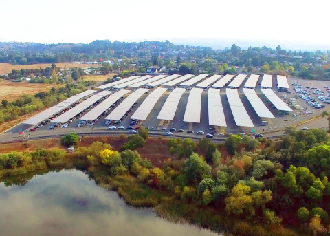 The 7.5 megawatt solar carport at Six Flags Discovery Kingdom in Vallejo, California is one of the largest solar carport installations in the country and will offset 80% of the park's energy usage. (Photo: Business Wire)