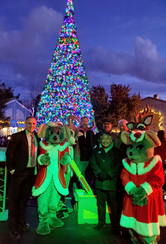 """Government officials Congressman Mike Thompson, Vallejo City Mayor Bob Sampayan, plus Borrego Solar COO Mark Swanson, sPower Project Manager Nico Suazo, and Six Flags Marketing Director Kirk Smith officially """"flipped the switch"""" to solar energy and kicked off the 12th annual Holiday in the Park by lighting the 65-foot Christmas tree at Six Flags Discovery Kingdom in Vallejo, California. (Photo: Business Wire)"""