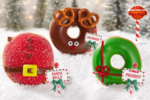 Three doughnuts inspired by the 'Magic of the North Pole' kick off month-long holiday festivities, including a chocolate takeover in shops Dec. 6 through 8 (Photo: Business Wire)