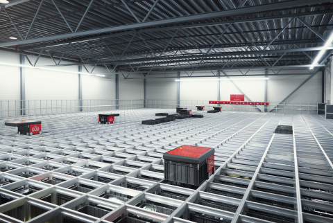 AutoStore's robots move products across a grid system enabling a quick and efficient refreshment of inventory. (Photo: Business Wire)